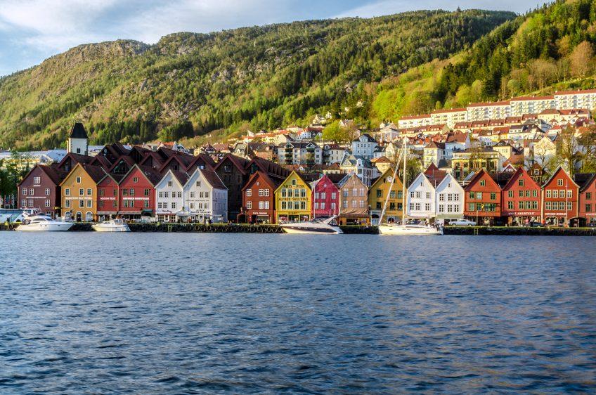 Le Quai de Bryggen, ville de Bergen en Norvège