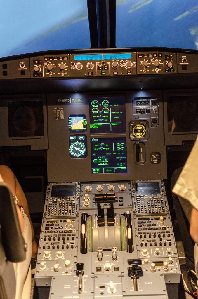 Console du cockpit de l'Airbus A320