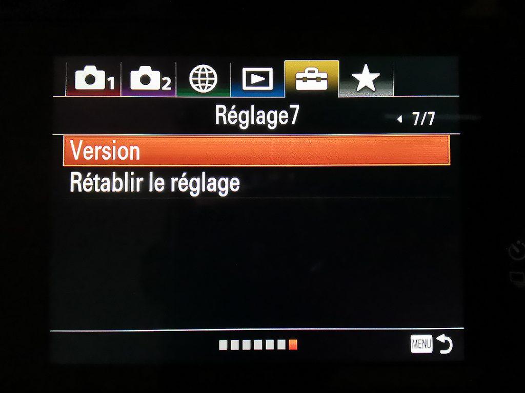 Vérifier la version avant de faire la mise à jour du Sony A7 III